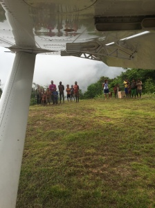 Our welcoming committee. Notice the clouds. Almost couldn't land as the runway is sketchy: 14% slope, 500 meters in length.